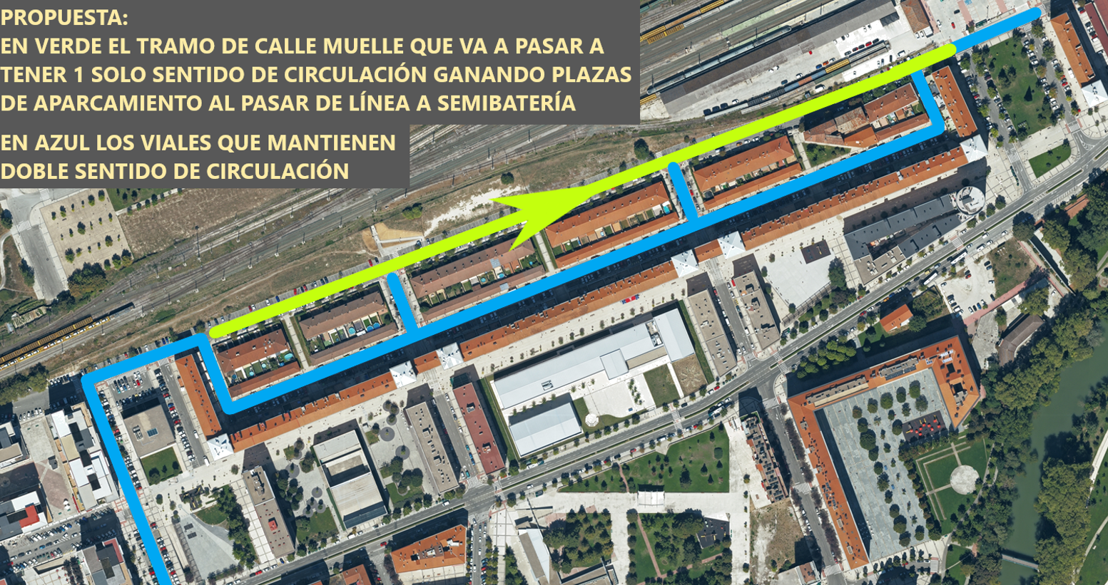 El tramo de la calle del Muelle, paralelo a la calle El Irati, se convertirá en vía de un único sentido de circulación